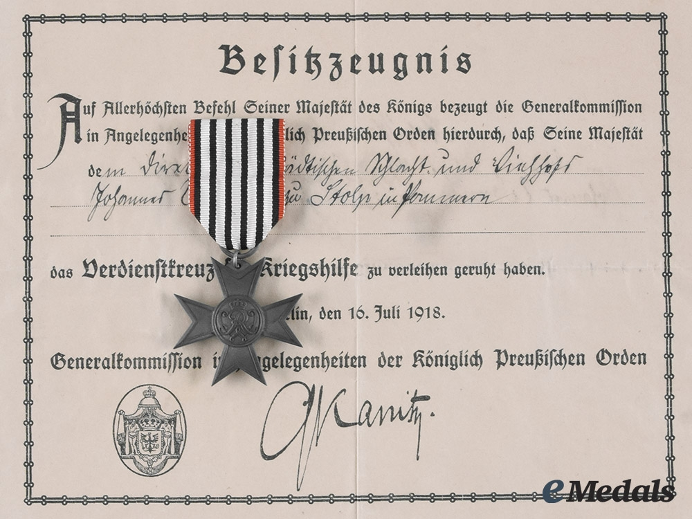 eMedals-Prussia, Imperial. A Merit Cross for War Aid with Document to Johannes Werner