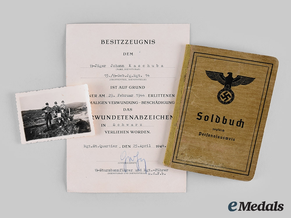 "eMedals-Germany, SS. A Soldbuch and Award Document to Johann Kaschuba, SS-Gebirgs-Jäger-Regiment 14 (""Prinz Eugen"" )"