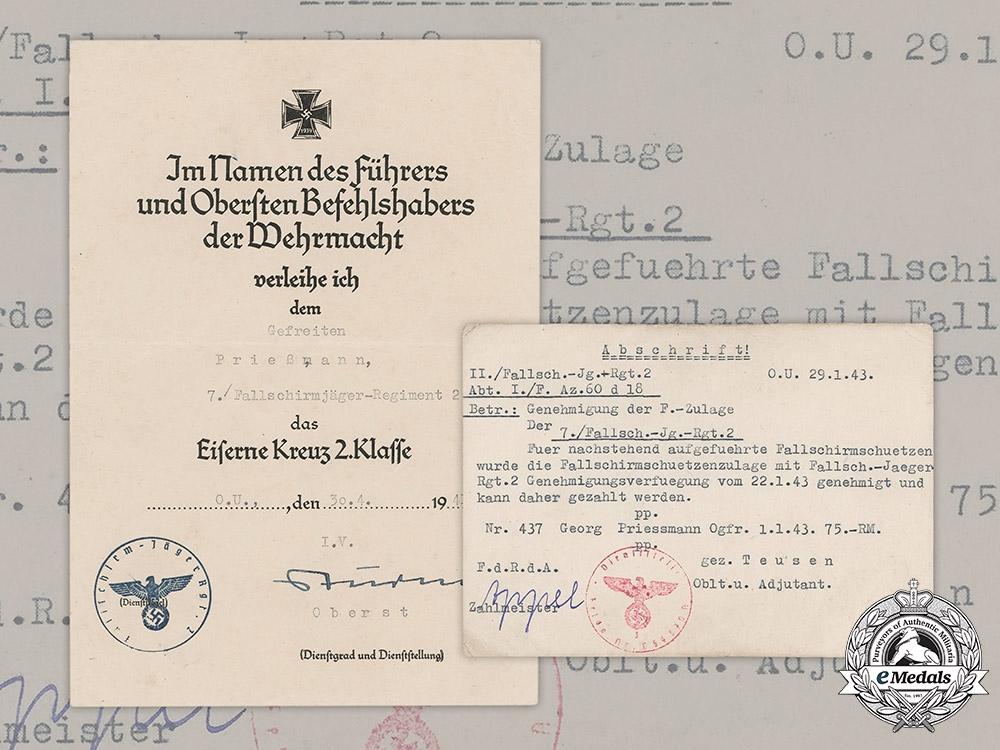 eMedals-Germany, Luftwaffe. An Iron Cross II Class Document & Bonus Salary Certificate, Fallschirmjäger
