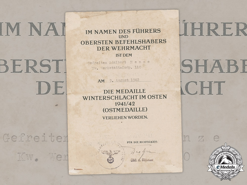 eMedals-Germany, Heer. An Eastern Front Medal Award Document To Supply Driver Henze, 1942
