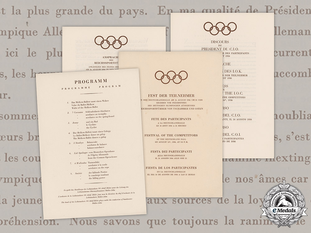 eMedals-Germany, Olympic Games. A Multilingual Program & Speeches For The Festival Of Competitors Of The 1936 Olympic Games