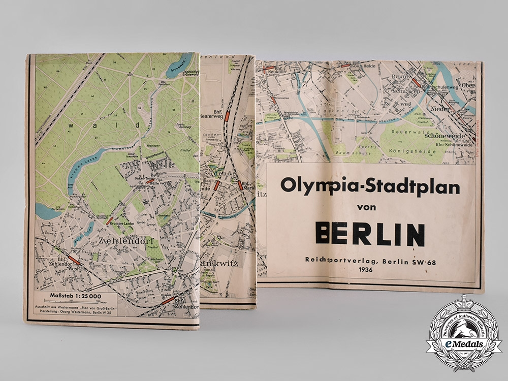eMedals-Germany, Third Reich. A 1936 Olympic City Map of Berlin, by the Reich Sports Publishing House