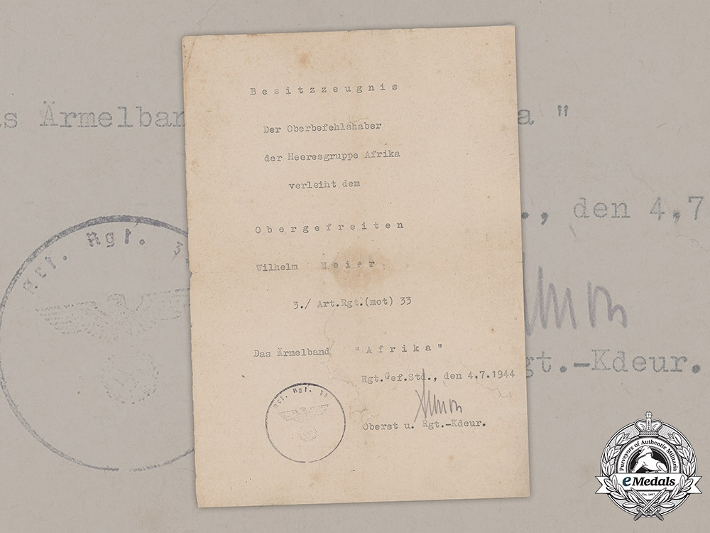 eMedals-Germany, Heer. An Afrika Cuff Title Award Document To Artillery Obergefreiter Wilhelm Meier, 1944
