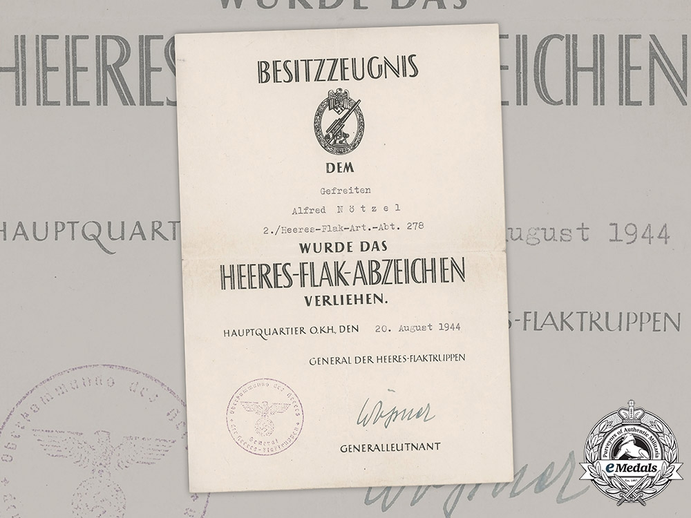 eMedals-Germany, Heer. An Army Flak Badge Award Document To Gefreiter Alfred Nötzel