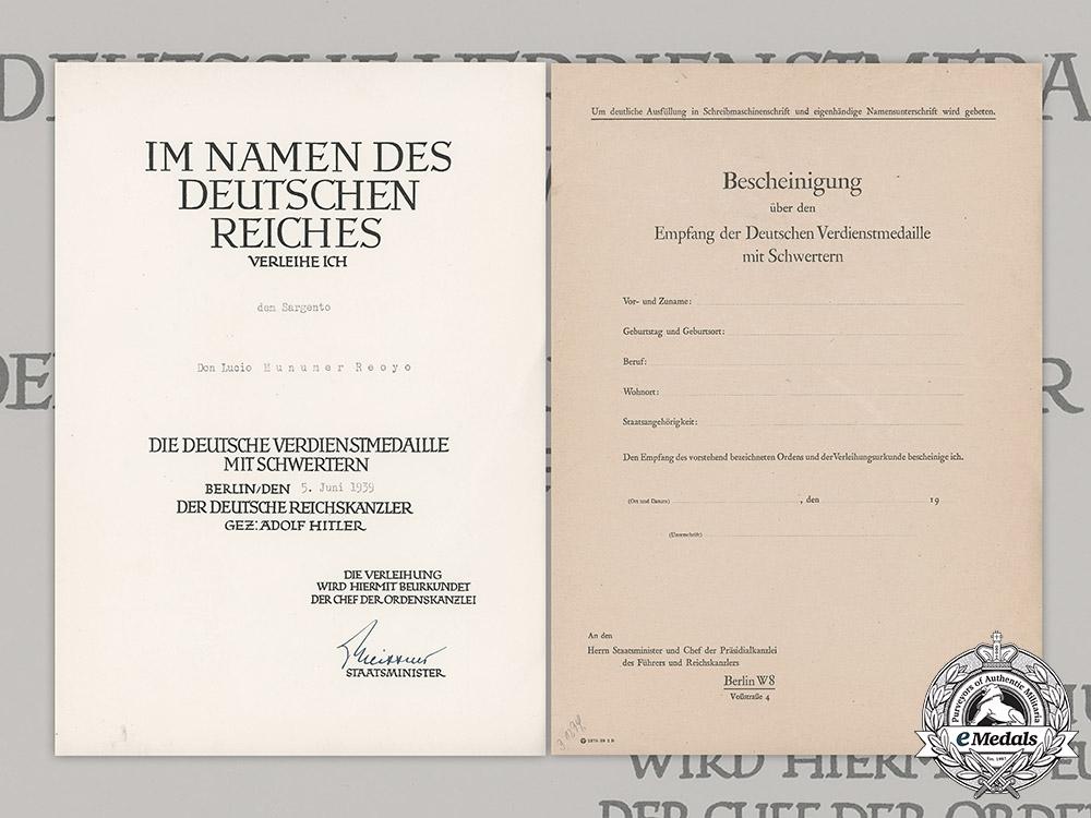 eMedals-Germany, NSDAP. An Award Document To Spanish Sergeant Don Lucio Munumer Reoyo, 1939