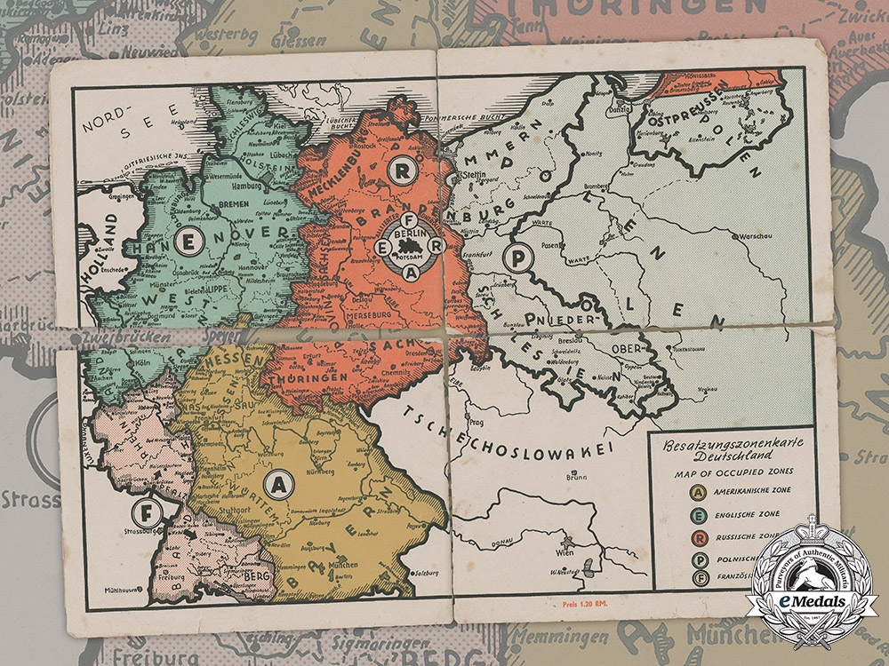 eMedals-Germany, Federal Republic. A Map of Occupied Zones