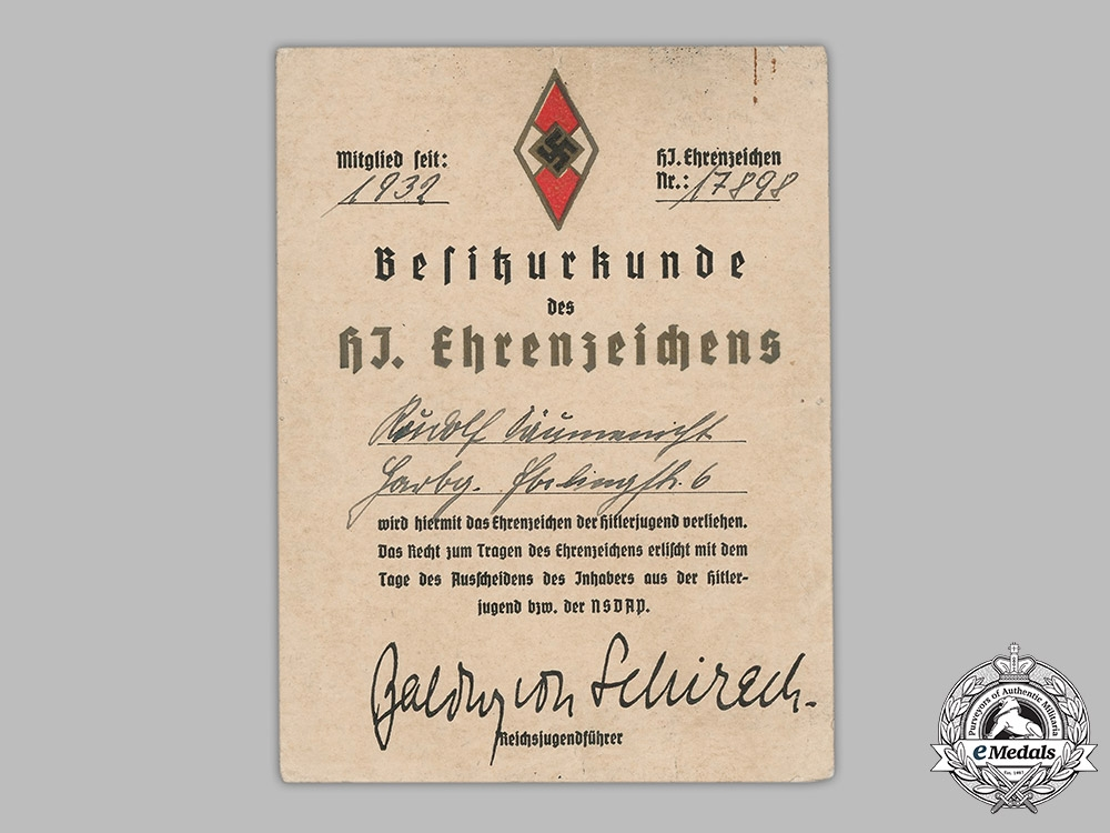 eMedals-Germany, Third Reich. An Award Document for a Golden HJ Honour Badge, to Rudolf Däumenischt
