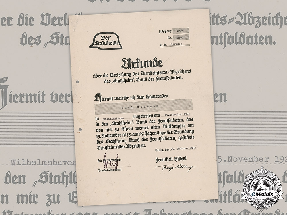 eMedals-Germany, Third Reich. A Stahlhelm Commencement of Duty Badge Document to Paul Erdmann, c.1934