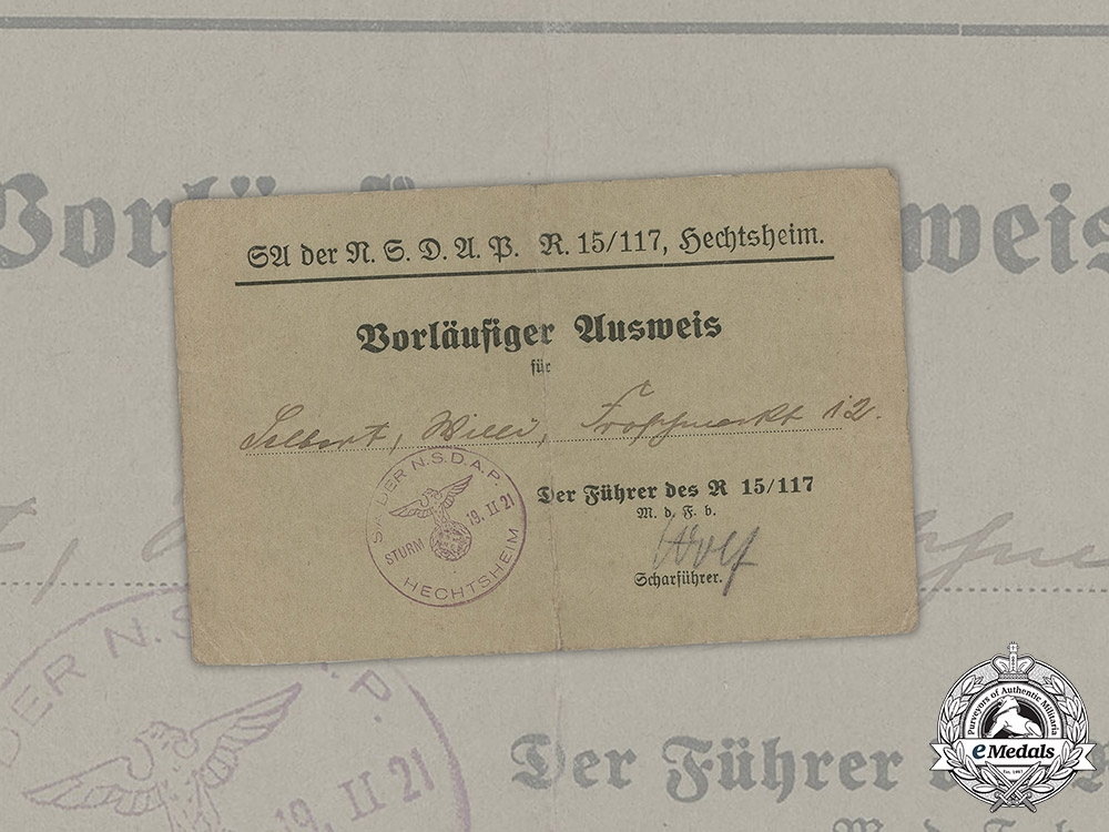 eMedals-Germany, SA. A Preliminary Member ID Card Of Local Unit, 1933