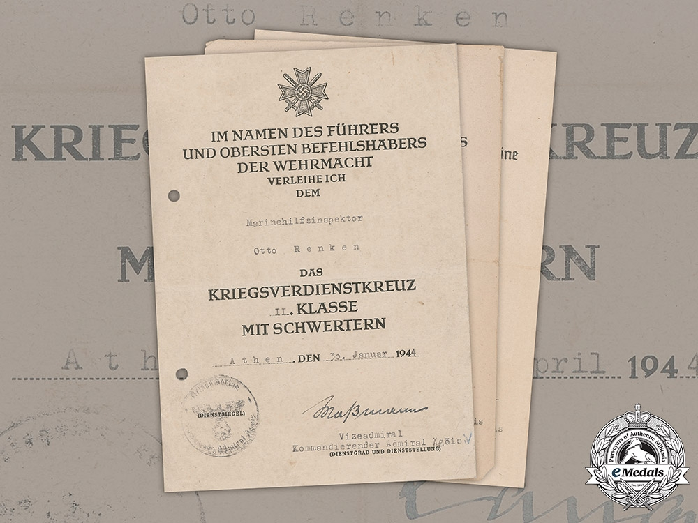 eMedals-Germany, Kriegsmarine. Award Documents Issued to Marinehilfsinspektor, Issued in Athens