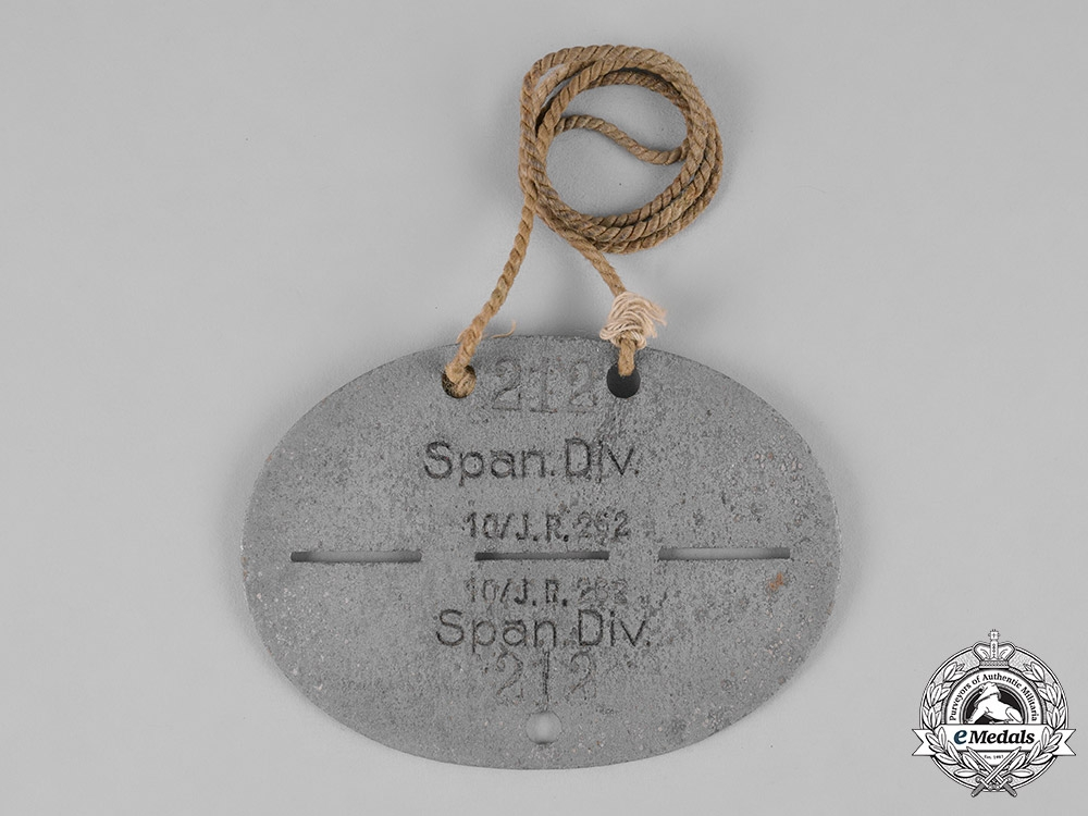 eMedals-Spain, Franco Period. A Blue Division Dog Tag, 10 Company Jager-Division 262