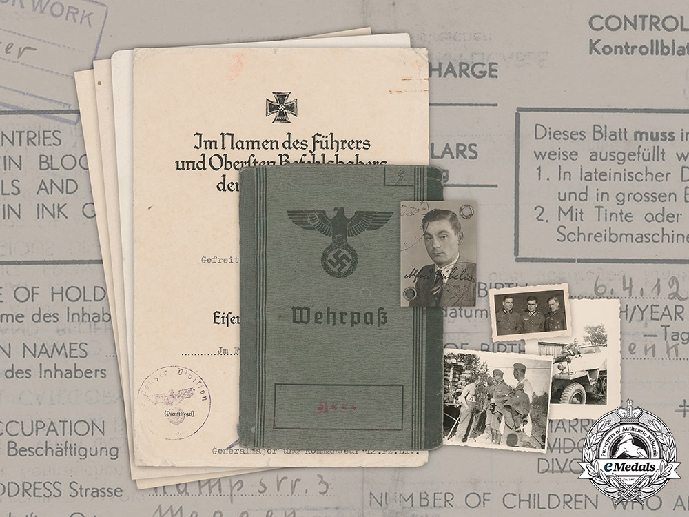 eMedals-Germany, Heer. A Wehrpaß, Award Documents, and Photographs to Driver Staff Corporal Alfred Gubelius
