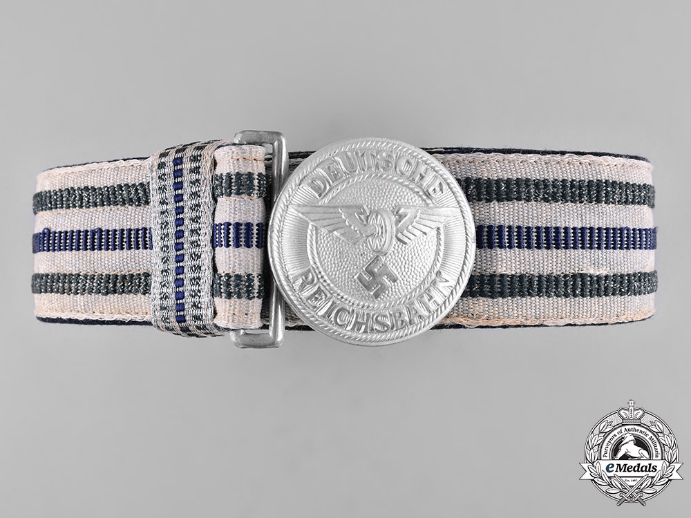 eMedals-Germany, Reichsbahn. A Railway Police Leader's Brocade Dress Belt and Buckle, by Assmann