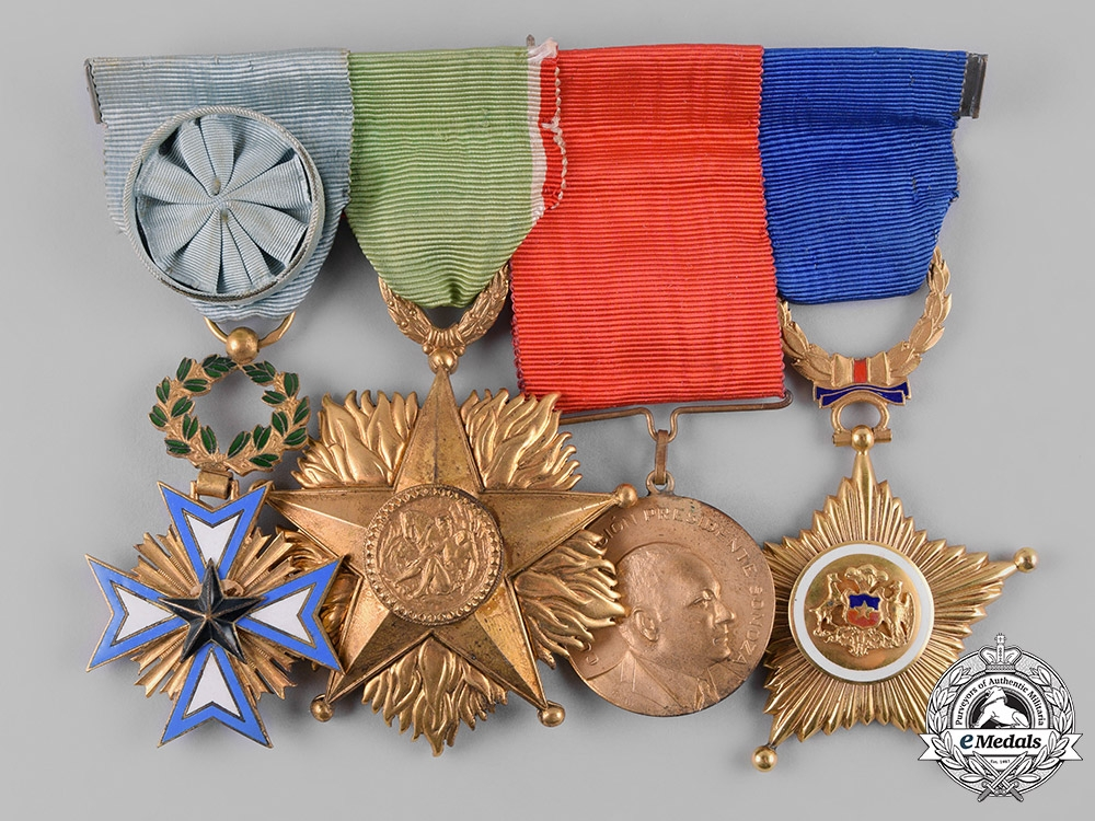 eMedals-France, Republic. A French, Italian, Nicaraguan, and Chilean Medal Bar