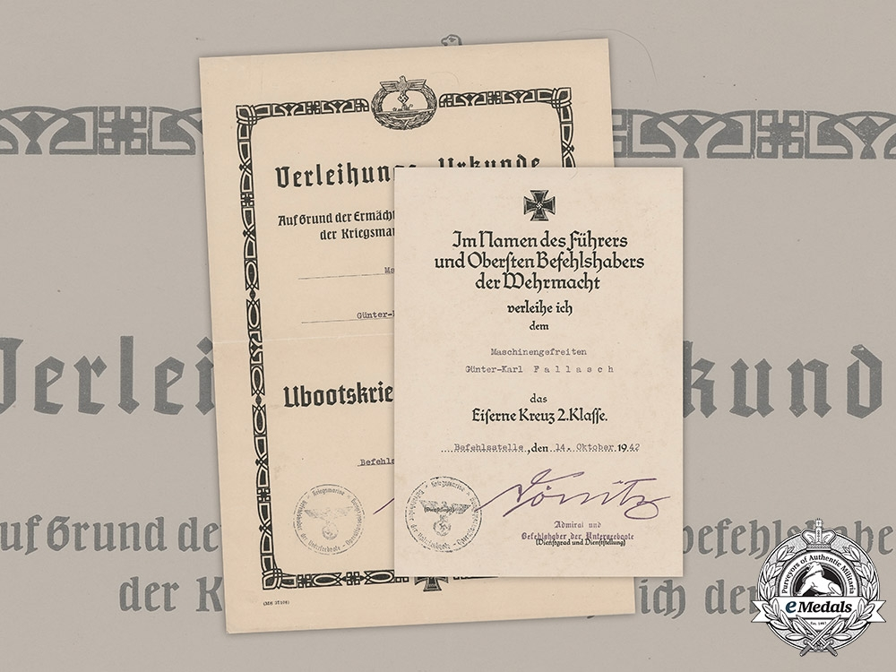eMedals-Germany, Kriegsmarine. A Pair of Award Documents to Günter-Karl Fallasch, 1942