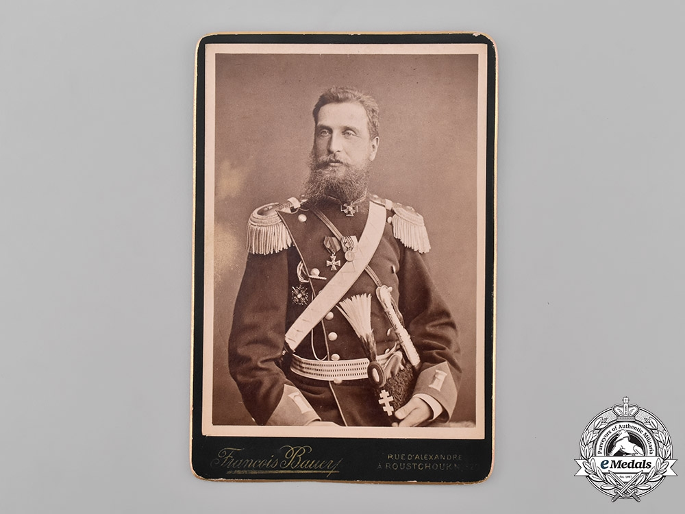 eMedals-Russia, Imperial. A Studio Photo of a White Russian Émigré Officer in Bulgaria