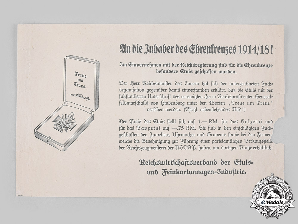 eMedals-Germany, Third Reich. An Announcement of the Introduction of Official Cases for the Hindenburg Cross, c. 1935