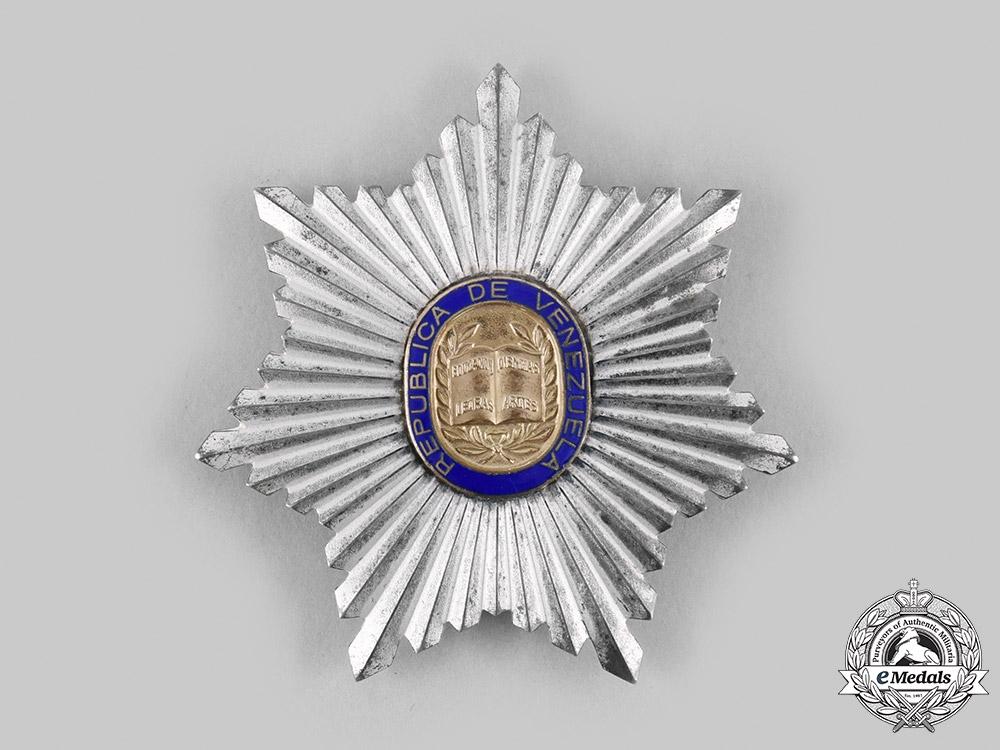 eMedals-Venezuela, Bolivarian Republic. An Order of Andrés Bello, I Class Grand Cross Star, c.1970