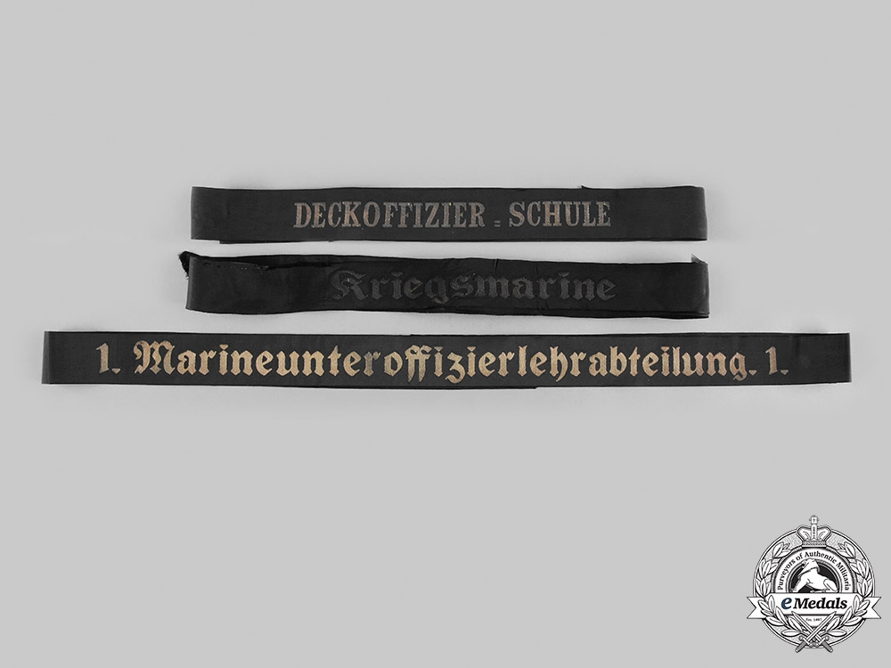 eMedals-Germany, Kriegsmarine. A Lot of Cap Tally Ribbons