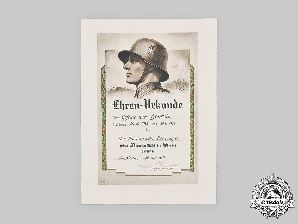 eMedals-Germany, Heer. A Large Service Document to Anti-Tank Gefreiter Holstein 1937