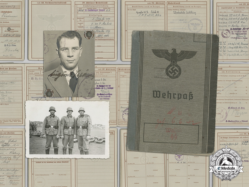 eMedals-The Wehrpass of SS-Rottenführer August Krämer; Totenkopf Division & KIA