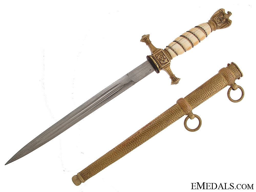 eMedals-Navy Dagger with Ivory Grip & Damascus Blade