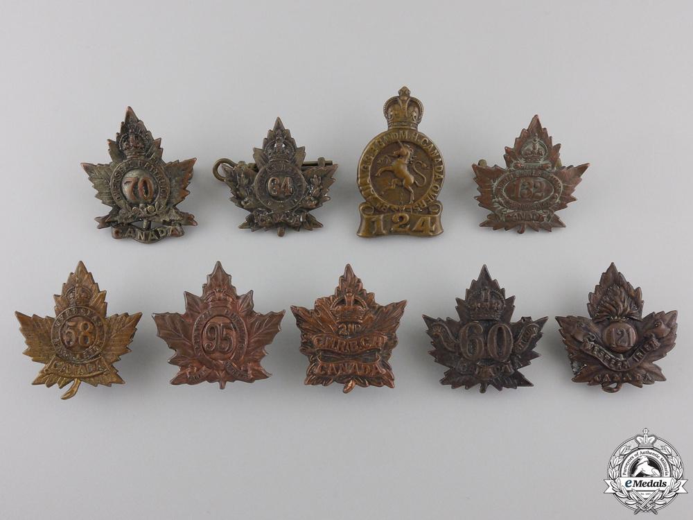 eMedals-Nine First War Canadian Collar Badges