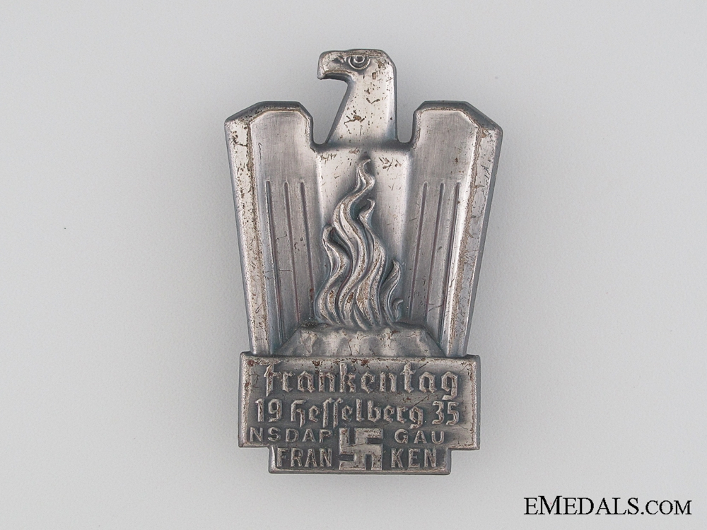 eMedals-NSDAP Frankentag Hesselberg Gau Franken Tinnie, 1935