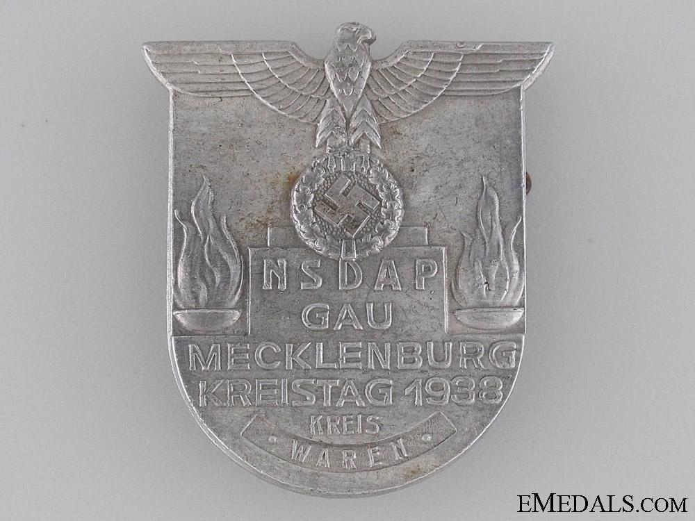 eMedals-NSDAP Gau Mecklenberg Day Badge 1938