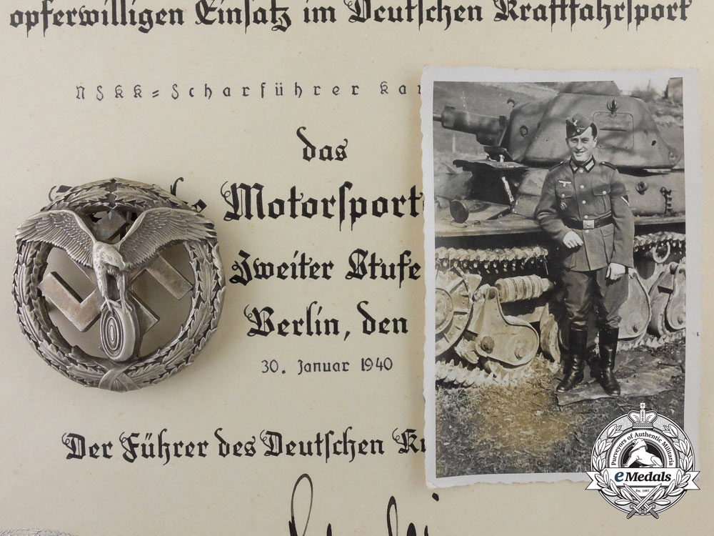 eMedals-Germany. A Rare Motor Sport Badge with Award Document, Published Example