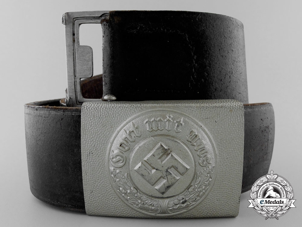 eMedals-A German Police Enlisted Man's Belt & Buckle by Christian Theodor Dicke; KARLSRUHE