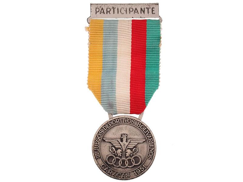 eMedals-3rd Bolivarian Games Participant's Medal, Caracas 1951