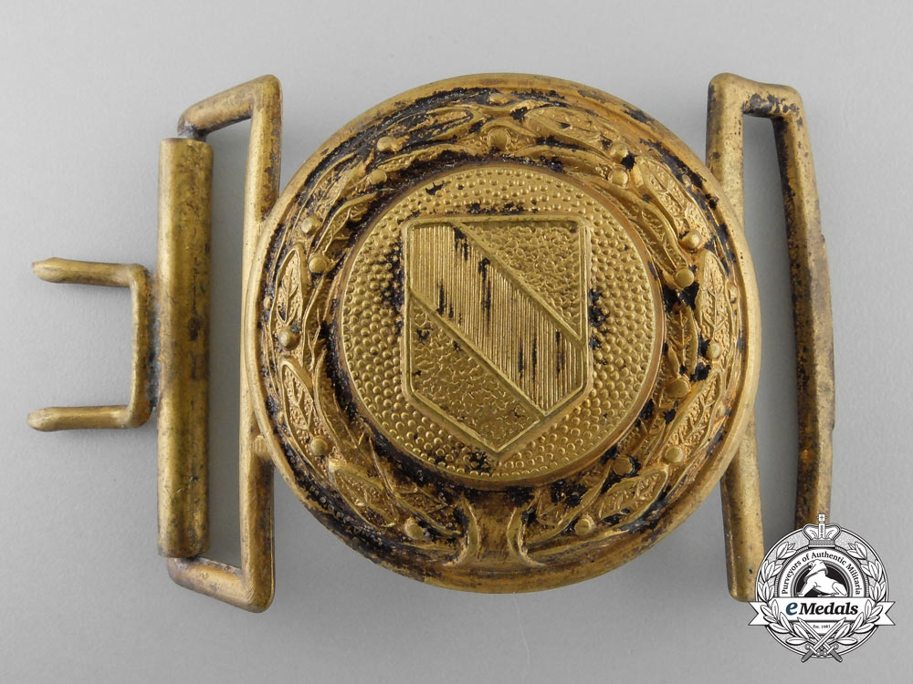 eMedals-A Baden Fire Defence Service Officer's Belt Buckle; Published Example