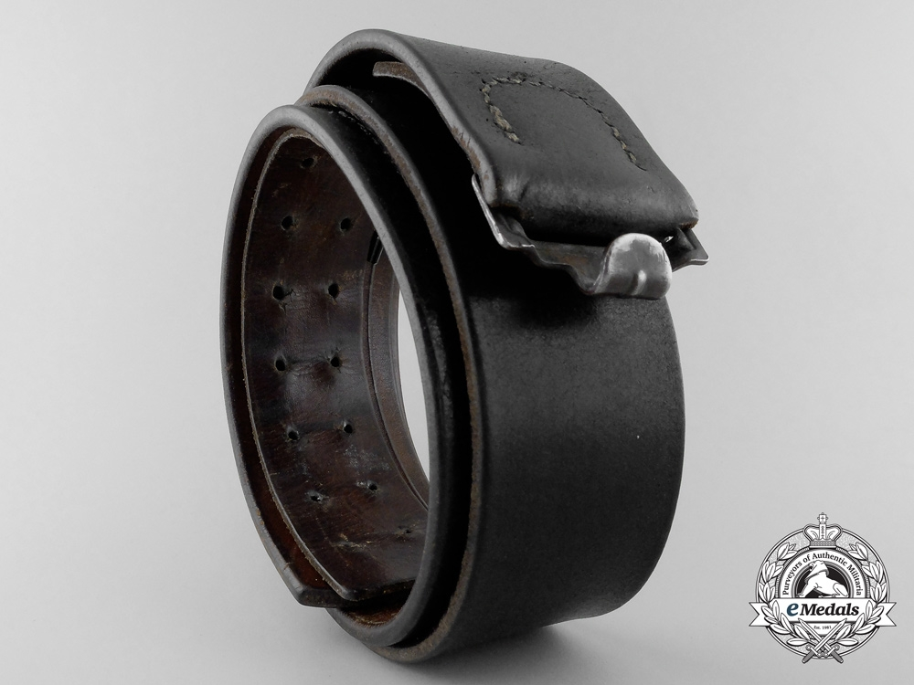 eMedals-An Black Leather RLM Belt by Franz Brehme, Walsrode