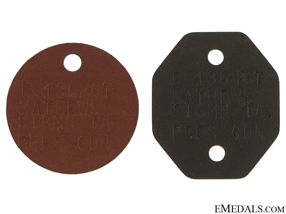 eMedals-Pair of WWII Canadian ID Tags