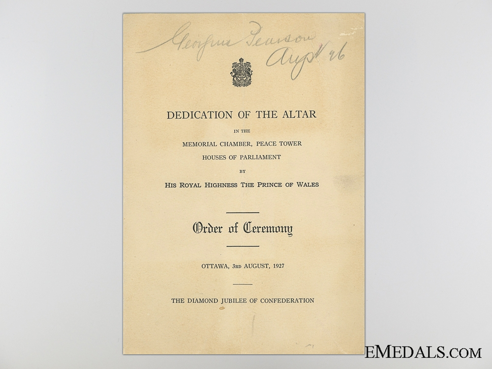 eMedals-Peace Tower Altar Dedication Programme, Ottawa, August 3, 1927