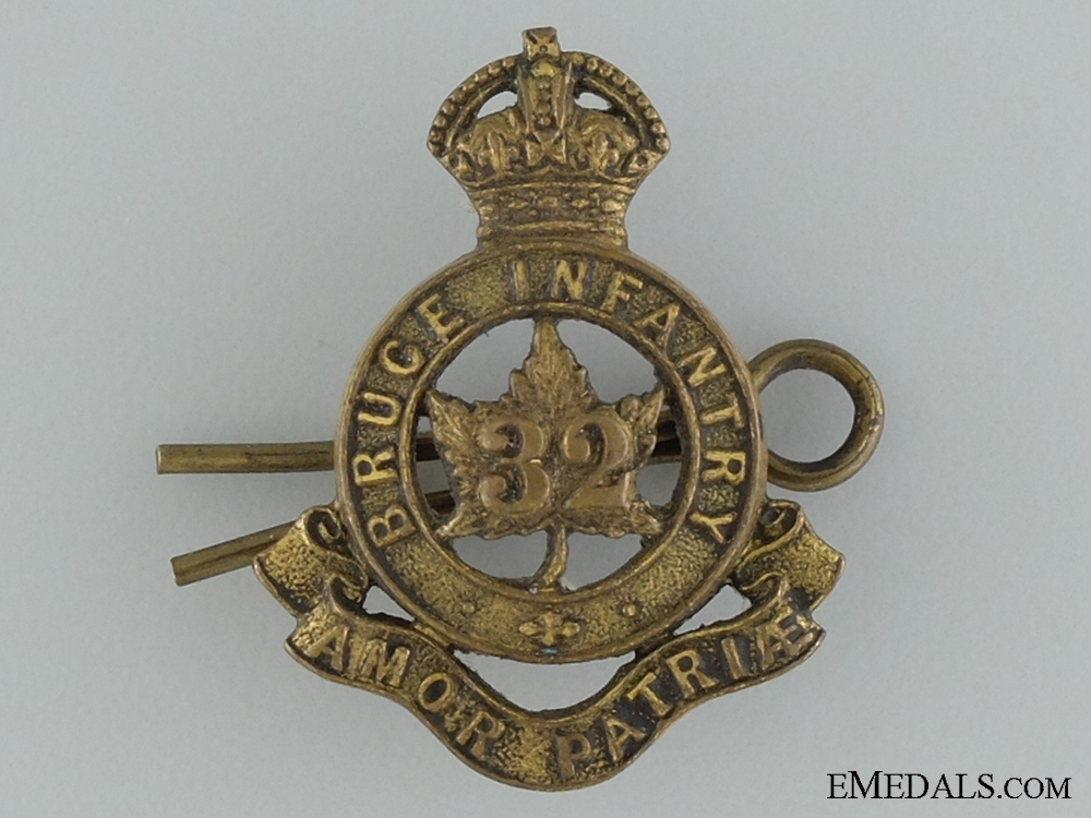 eMedals-Pre-WWI 32nd Bruce Infantry Collar Badge
