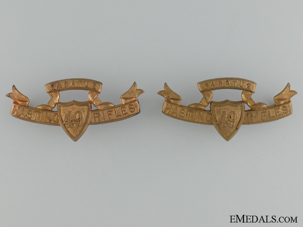 eMedals-Pre-WWI 49th Hastings Rifles Collar Tab Pair