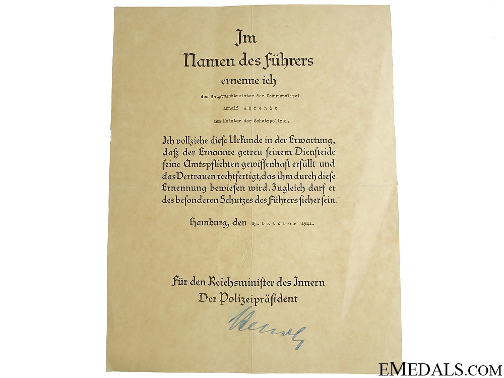 eMedals-Promotion Document - Meister of the Schutzpolizei