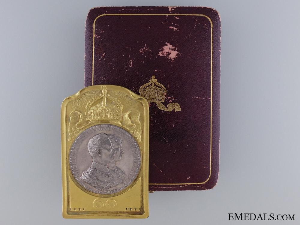 eMedals-Prussian King Wilhelm & Augustine Victoria Jubilee Plaque; Cased