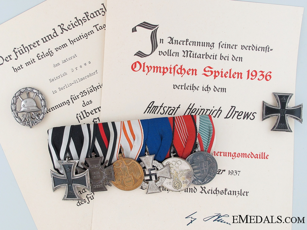 eMedals-A Prussian Ministry of State Medal Bar to Amtsrat Heinrich Drews