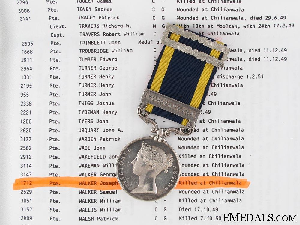 eMedals-Punjab Medal 1848-49; KIA at Chillianwala