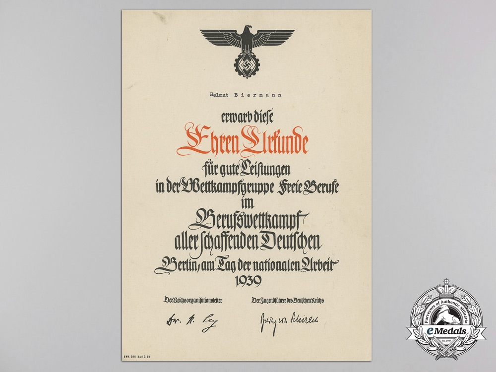 eMedals-An HJ Award Document for Great Achievements of a Hitler Youth Boy at the Trades Competition in Berlin 1939