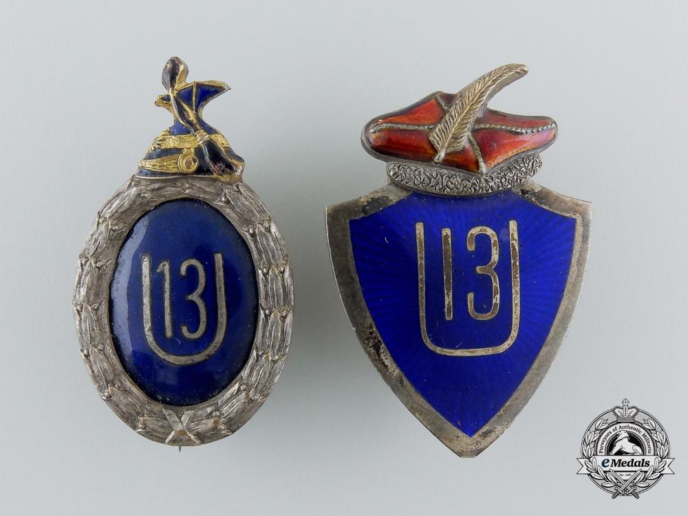 eMedals-Two First War Pair of Austrian Regimental Badges