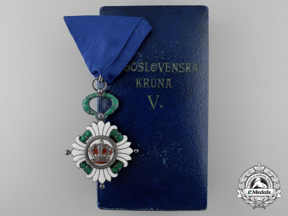 eMedals-An Order of the Yugoslav Crown; Fifth Class with Case by Huguenin Freres