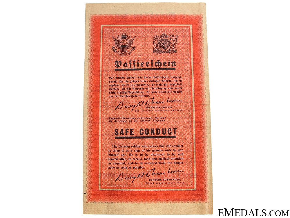 eMedals-Safe Conduct Pass 1944