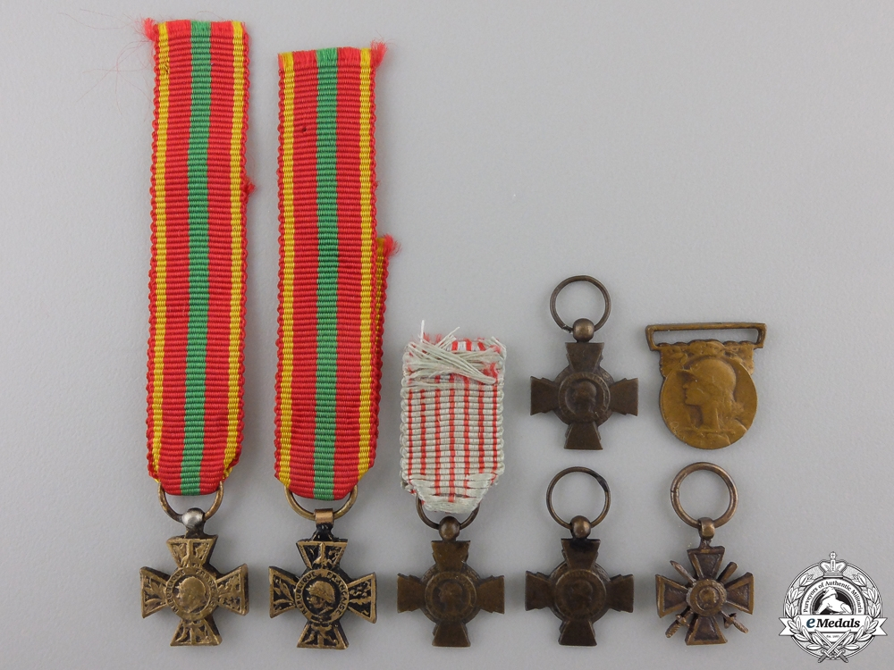 eMedals-Six French First & Second War Miniature Medals