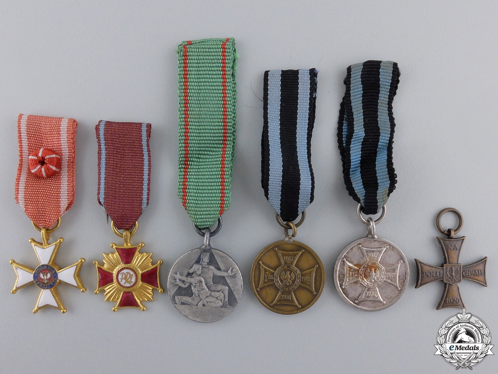 eMedals-Six Polish Miniature Medals & Awards