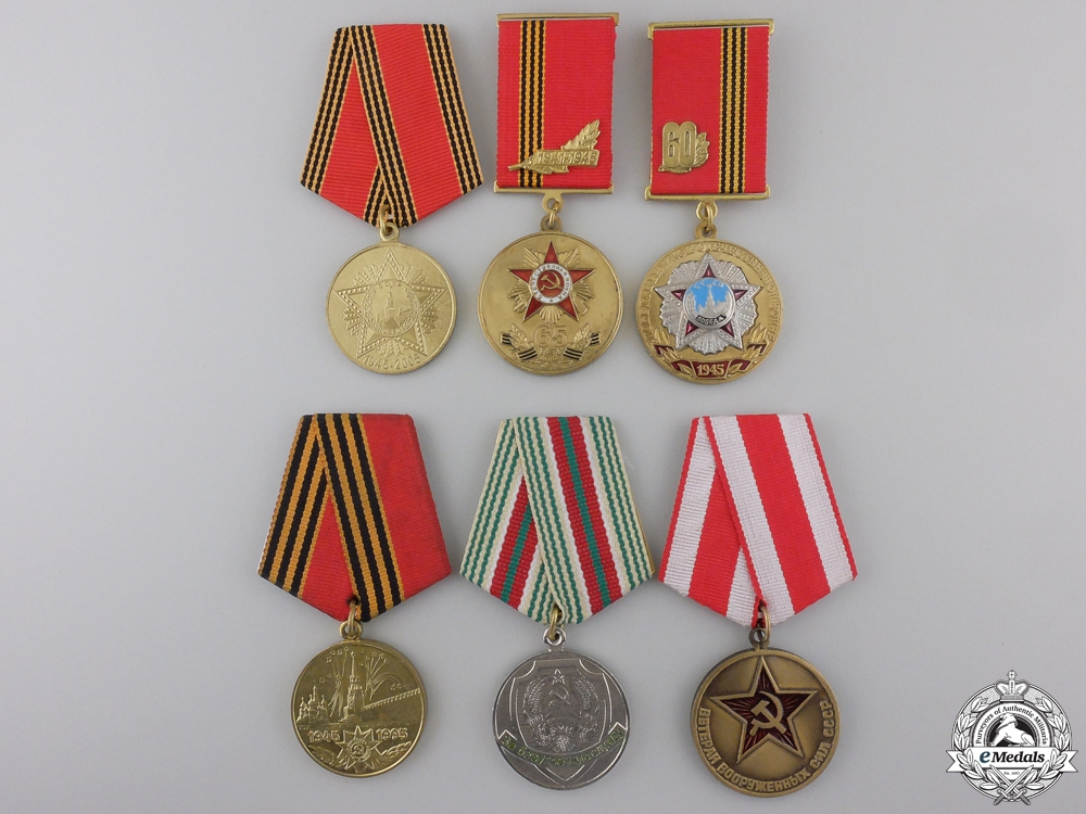 eMedals-Six Russian Federation Jubilee and Veterans Medals & Awards