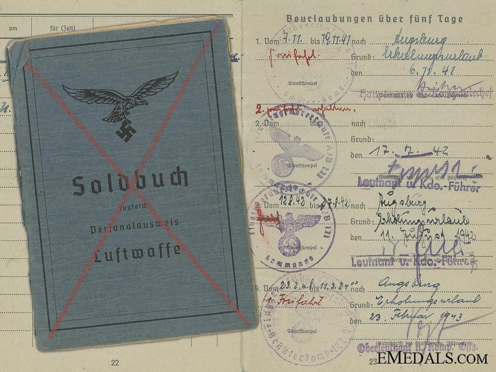 eMedals-Soldbuch of Fighter Pilot Koderer; Shot Down 1943 over Croatia